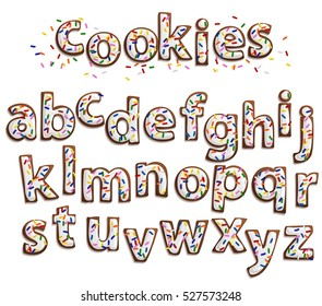 Delicious beautiful  Gingerbread Cookies Font,Sweet cookies with white icing and colorful sprinkles isolated on white.Isolated letters for writing text