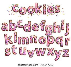 Delicious beautiful Gingerbread Cookies Font,Sweet cookies with pink icing and colorful sprinkles isolated on white.Isolated letters for writing text
