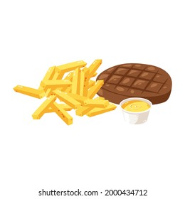 Delicious Beed Steak and Chips vector illustration vector, steak and frech fries