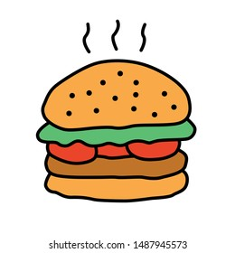 Delicious burger color icon. Traditional hamburger, junk food isolated vector illustration. Unhealthy nutrition, harmful food, takeaway service cartoon symbol. Grilled patty with buns and vegetables