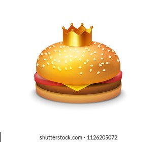 Delicious Burger with Crown. Vector Clipart illustration of Tasty sandwich isolated on white background, EPS 10.