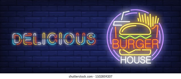 Delicious burger house neon sign. French fries, coke and tasty burger.  Vector illustration in neon style for fast food cafe or delivery