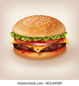 Delicious burger with juicy beef, fresh lettuce, tomato, onion, cheese and ketchup. Vector illustration of yummy hamburger for takeout menu, fast food restaurant or BBQ invitation. Cartoon style icon.