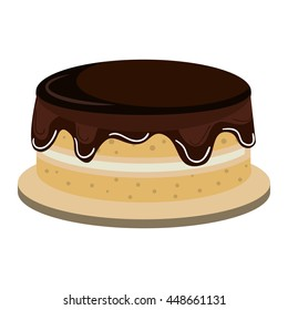Delicious cake dessert isolated flat icon, vector illustration graphic.
