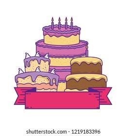 delicious cakes celebration icons