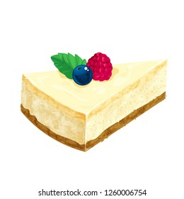 Delicious cheesecake isolated on white, vector illustration.