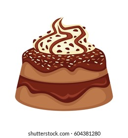 Delicious chocolate cake with topping decoration of cream on white background. Sweet dessert with brown custard. Vector illustration in cartoon style flat design hand drawn pattern graphic icon.