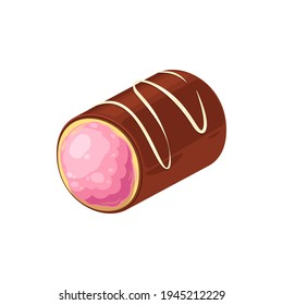 Delicious chocolate candy with strawberry cream isolated sweet treat. Vector choco dessert, realistic confection filled with pink jelly. Candy with sugar glaze topping, homemade dessert of cacao