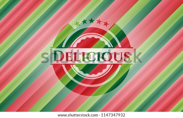 Delicious christmas colors style badge.
