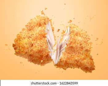 Delicious crispy fired chicken in 3d illustration
