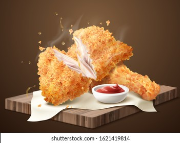 Delicious crispy fired chicken with dip on wooden plate in 3d illustration