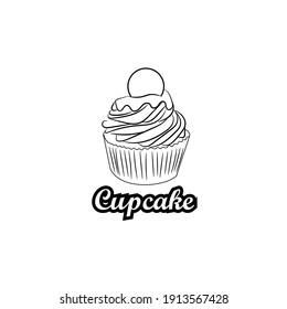 Delicious cupcake dessert in black and white colors, vector illustration graphic doodle line art style drawing.