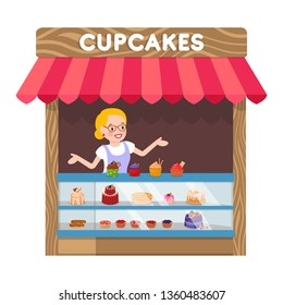 Delicious Cupcakes Booth Flat Vector Illustration. Saleswoman behind Counter with Muffins Cartoon Characters. Tasty Pastry Kiosk, Sweet Dessert Shop, Awning with Baking. Food Store, Retail Service