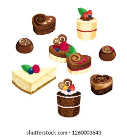 Delicious desserts isolated on white, vector illustration.