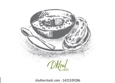 Delicious dhal with bread cakes, spicy cream soup with boiled beans, eastern food restaurant menu, dinner. Traditional indian daal, asian cuisine concept sketch. Hand drawn vector illustration