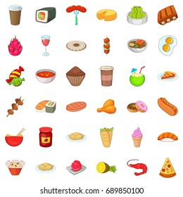 Delicious dish icons set. Cartoon style of 36 delicious dish vector icons for web isolated on white background