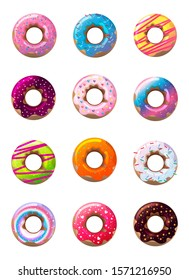 Delicious donuts in glaze vector image set isolated on white background