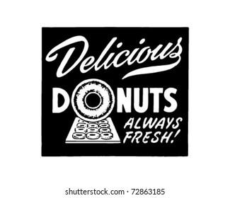 Delicious Donuts - Retro Ad Art Banner