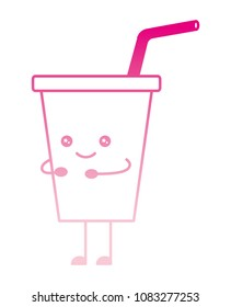 delicious drink in plastic cup with straw kawaii character