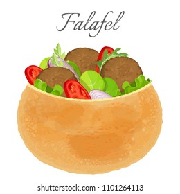 Delicious falafel full of meat and fresh vegetables