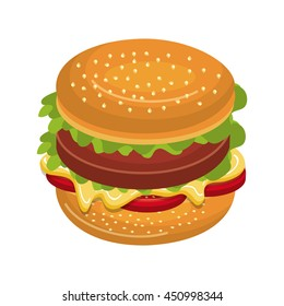 Delicious fast food burger isolated flat icon, vector illustration graphic design.