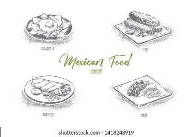 Delicious fastfood, spicy snacks, chilaquiles, elote, burrito and tacos, mexican traditional food banner