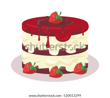 Delicious Festive Cake Web Banner Chocolate Bakery Isolated Design Flat Birthday Dessert And Cookies