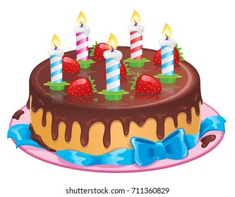 Delicious festive chocolate cake with candles. For birthday! Delicious chocolate icing and fresh strawberries. It stands on a pink plate and is decorated with a blue bow. Isolated Vector Illustration.