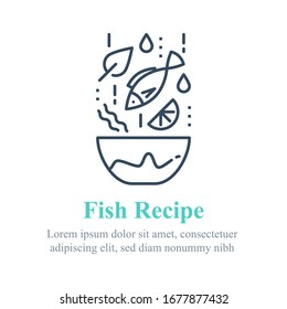 Delicious fish salad, seafood recipe, eat healthy food, full bowl, falling ingredients, nutritious diet, tuna lunch dish, vector line icon