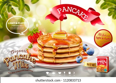 Delicious fluffy pancake ads on nature glitter bokeh background in 3d illustration, morning scene