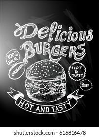 delicious food, burgers, menu