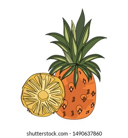 delicious fresh citrus pineapple isolated cartoon vector illustration graphic design