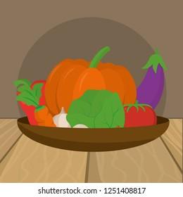 delicious fresh vegetables cartoon