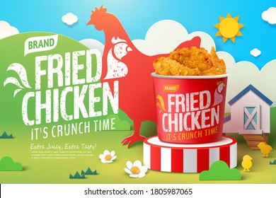 Delicious fried chicken in 3d illustration with farm theme background in paper cut design