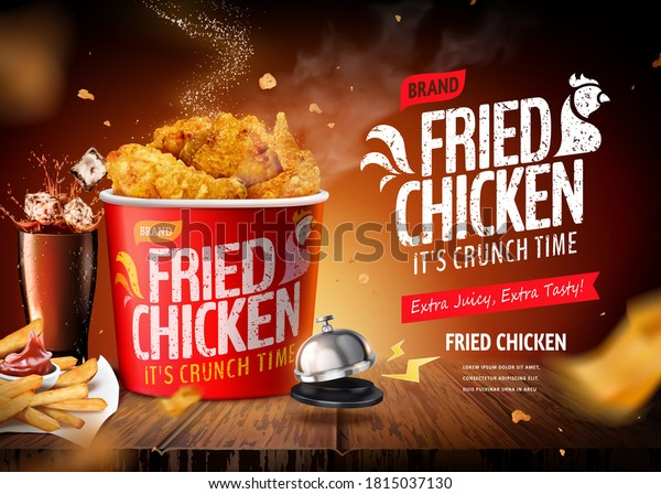 Delicious fried chicken set on wooden restaurant table, concept of big meal, in 3d illustration