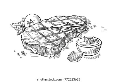 Delicious fried meat steak isolated on white background. Vector illustration