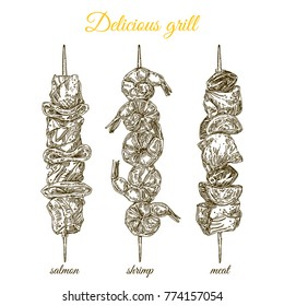 Delicious grilled food on a skewer. Set. Salmon, shrimp and meat. Engraving style. Vector illustration.