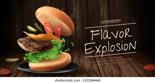 Delicious hamburger ads with flying ingredients on wooden background in 3d illustration