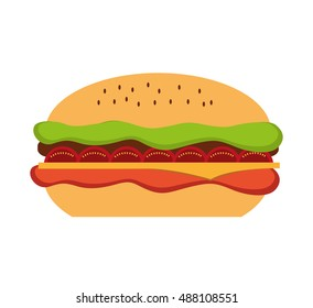 delicious hamburger fast food icon vector illustration design