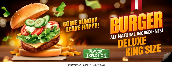 Delicious hamburger and fries banner ads on bokeh burning background in 3d illustration