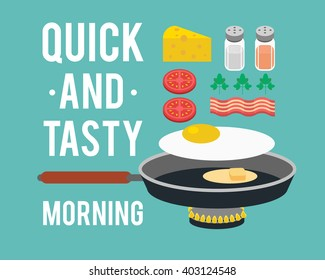 Delicious and hearty breakfast in a skillet. Egg, tomato, bacon, parsley, cheese, salt, pepper. Vector illustration.