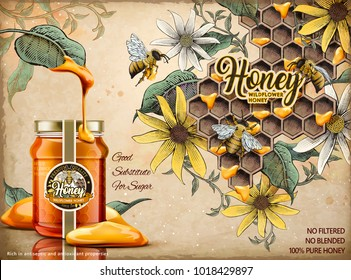 Delicious honey dripped from leaves with realistic glass jar in 3d illustration, retro apiary and bees background in etching shading style