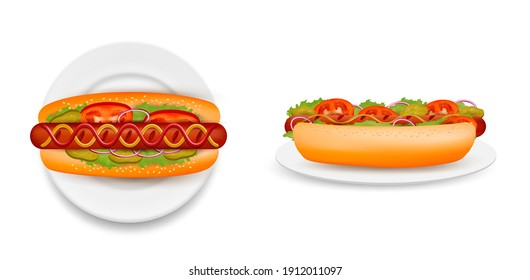 Delicious hot dog on plate, side and top view vector isolated illustration. Realistic hot dog bun with sausage, lettuce salad, tomato, cucumber, onion, ketchup mustard. Fast food restaurant menu.