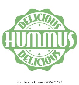 Delicious hummus stamp or label on white, vector illustration