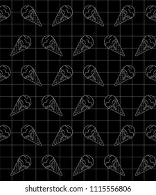Delicious ice cream icon in geometric grid and black background. Vector illustration. Cartoon pattern. Digital art for wallpapers or book covers. Simple logotype design in white line.