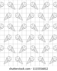 Delicious ice cream icon in geometric grid and white background. Vector illustration. Cartoon pattern. Digital art for wallpapers or book covers. Simple logotype design in black line.