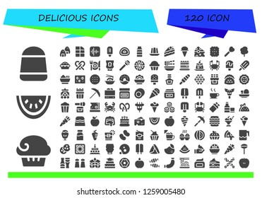 delicious icon set. 120 filled delicious icons. Simple modern icons about  - Candy, Muffin, Watermelon, Onigiri, Chocolate, Apple, Popsicle, Gummy, Syrup, Jelly, Cake, Ice cream
