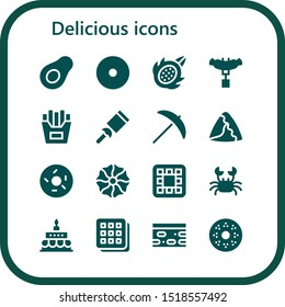 delicious icon set. 16 filled delicious icons.  Simple modern icons about  - Avocado, Donut, Dragon fruit, Sausage, French fries, Candy, Pick, Samosa, Doughnut, Cookie, Waffle