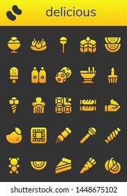 delicious icon set. 26 filled delicious icons.  Simple modern icons about  - Ice cream, Candy, Bitterballen, Lollipop, Cake, Watermelon, Sauces, Cookies, Custard, Cupcake, Apple