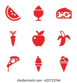 Delicious icons set. set of 9 delicious filled icons such as cheese, pizza, ice cream, milkshake, apple, carrot, banana
